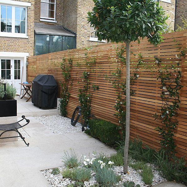Chic Modern Garden design in Chelsea by Declan Buckley with steps and flooring was laid with white limestone