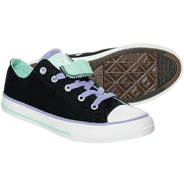 Converse Double Tongue Kids Shoes (Black) ($45) ❤ liked on Polyvore featuring shoes and 18. converse.