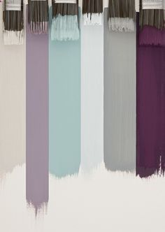 Summer Colour Schemes, 2013 | Farrow I am trying to pull the color of my muted aqua carpet into my wall color. I like the idea of a grey wall with purple accents. Maybe cream trim... -Home Decor