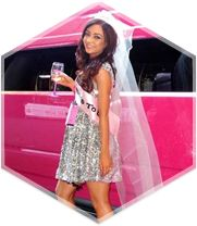 """A beautiful """"bride to be"""" enjoying her hens party in Pink Hummer limousine in Melbourne"""