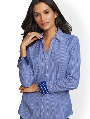 289b5afe7e385 Shop 7th Avenue - Madison Stretch Shirt - Stripes   Dots. Find your perfect  size online at the best price at New York   Company.