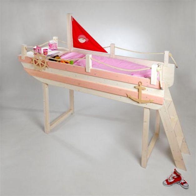 Kinderbetten - Kinderhochbett Mädchenhochbett Lotte - ein Designerstück von Zwergenmbel bei DaWanda