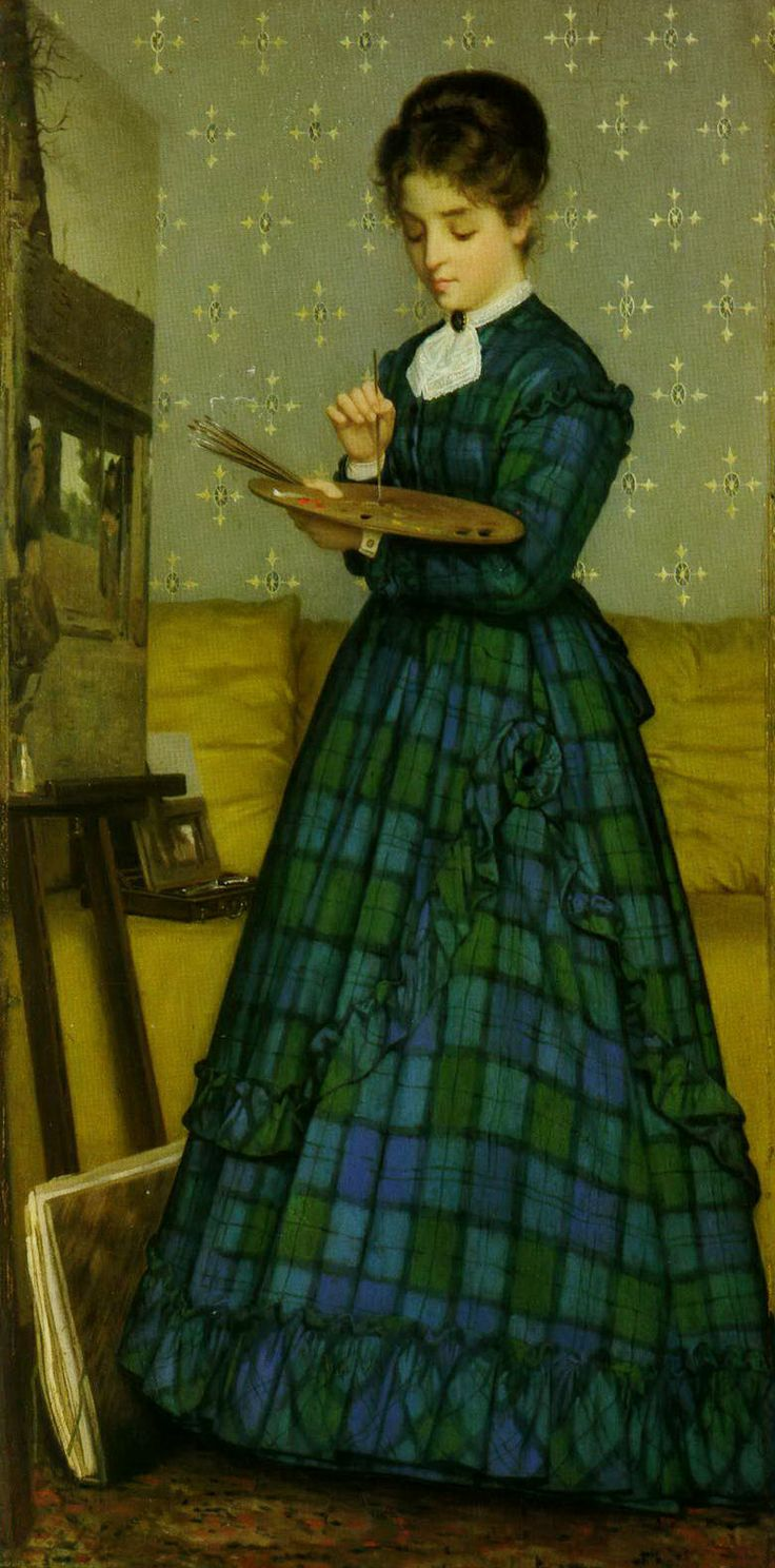 Painter Isolina Cecchini in a bright tartan blue and green dress
