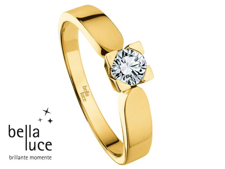 bellaluce solitaire ring: yellow gold, brilliant cut diamond. A diamond as unique as you are… #bellaluce #solitaire #ring #diamonds #engagement