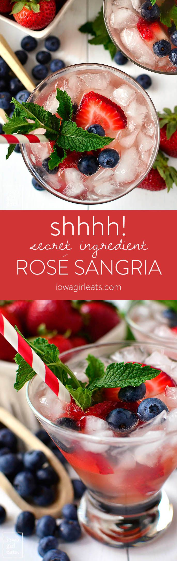 Secret Ingredient Rosé Sangria is the perfect drink to cool off with when temperatures start to soar. Not too sweet, and livened up by a secret ingredient! | iowagirleats.com