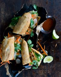 Spicy Vietnamese Chicken Sandwiches  - The Vietnamese accents here come from Sriracha (Southeast Asian chile sauce) and sweet-salty pickled onions.    Recipe from Food & Wine