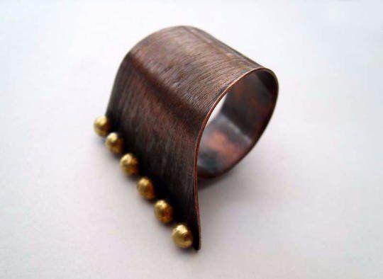 Asymmetrical.+copper+adjustable+ring,+handmade+metal+ring
