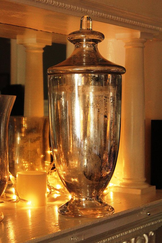 Chic Silver Mercury Glass Antiqued Finish Apothecary Jar Rustic