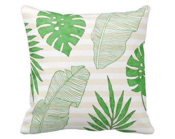 Palm Leaves Pillow with or without stripes, 20x20, Double Sided, Decorative Pillow, Throw Pillow, Sofa Pillow, Full Pillow, Tommy Bahama