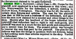 May vs Slingsby; Nottingham Daily Guardian, Nottingham October 1858