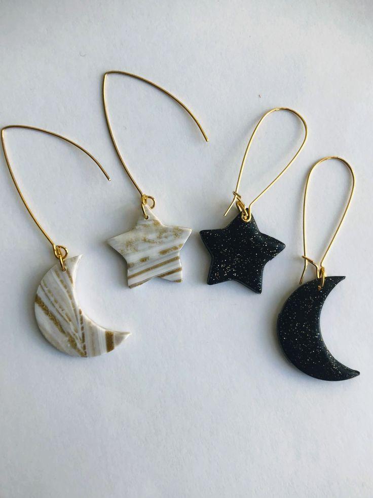 Asymmetrical star and moon polymer clay earrings diy