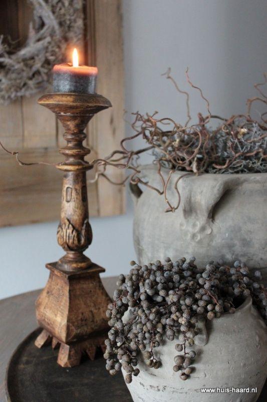 Houten kandelaar | Kandelaars & Windlichten | Huis & Haard landelijke woonaccessoires webshop