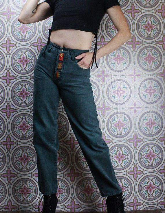 90's Button Fly Green Jeans in my Etsy shop https://www.etsy.com/ca/listing/588354867/90s-high-waisted-jeans-button-fly-green