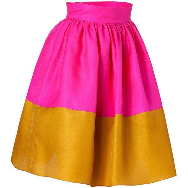 ROKSANDA ILINCIC Hot Pink And Mustard Silk Organza Full Skirt ($581) ❤ liked on Polyvore