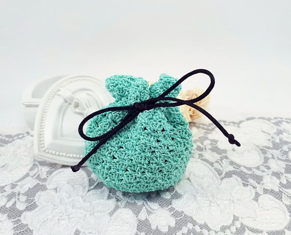 Turquoise crochet jewelry pouch handmade jewelry bag crochet