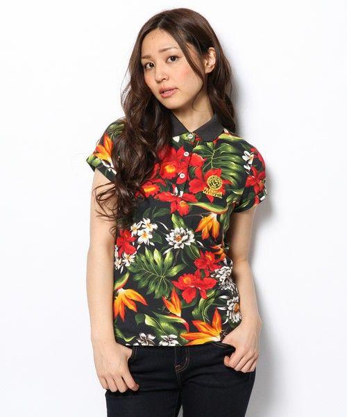 FRANKLIN&MARSHALL LADIES(フランクリン&マーシャル レディース)の総柄プリント半袖ポロシャツ(ポロシャツ)|ブラック×レッド