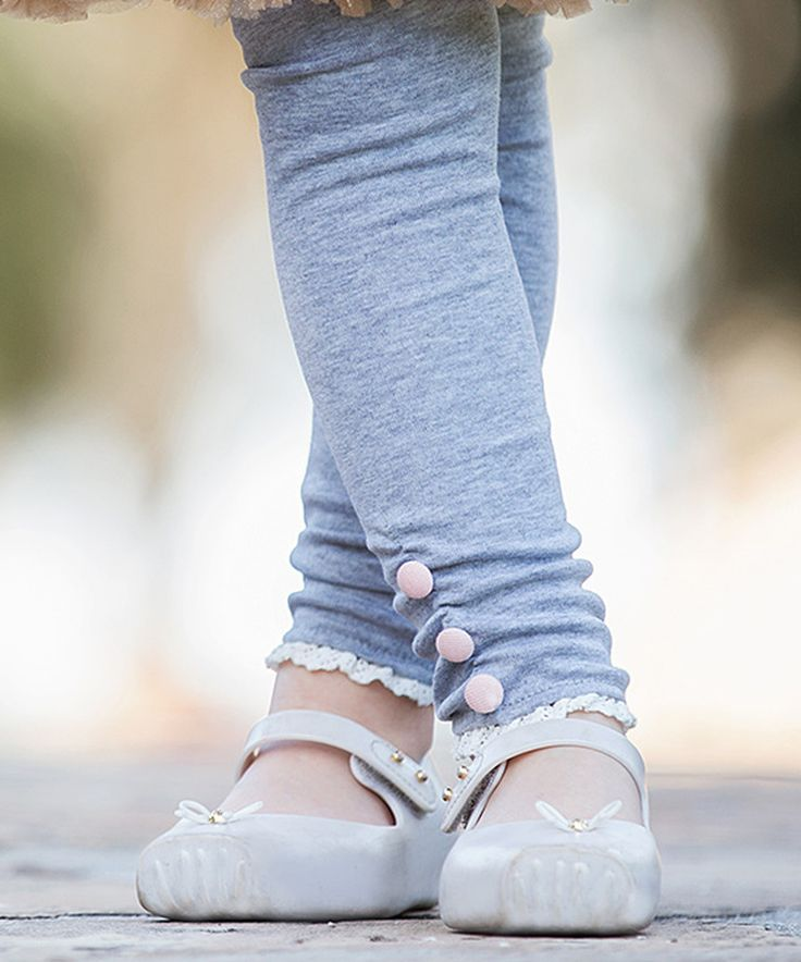 Look at this Trish Scully Child Gray Button Leggings - Toddler & Girls on #zulily today!