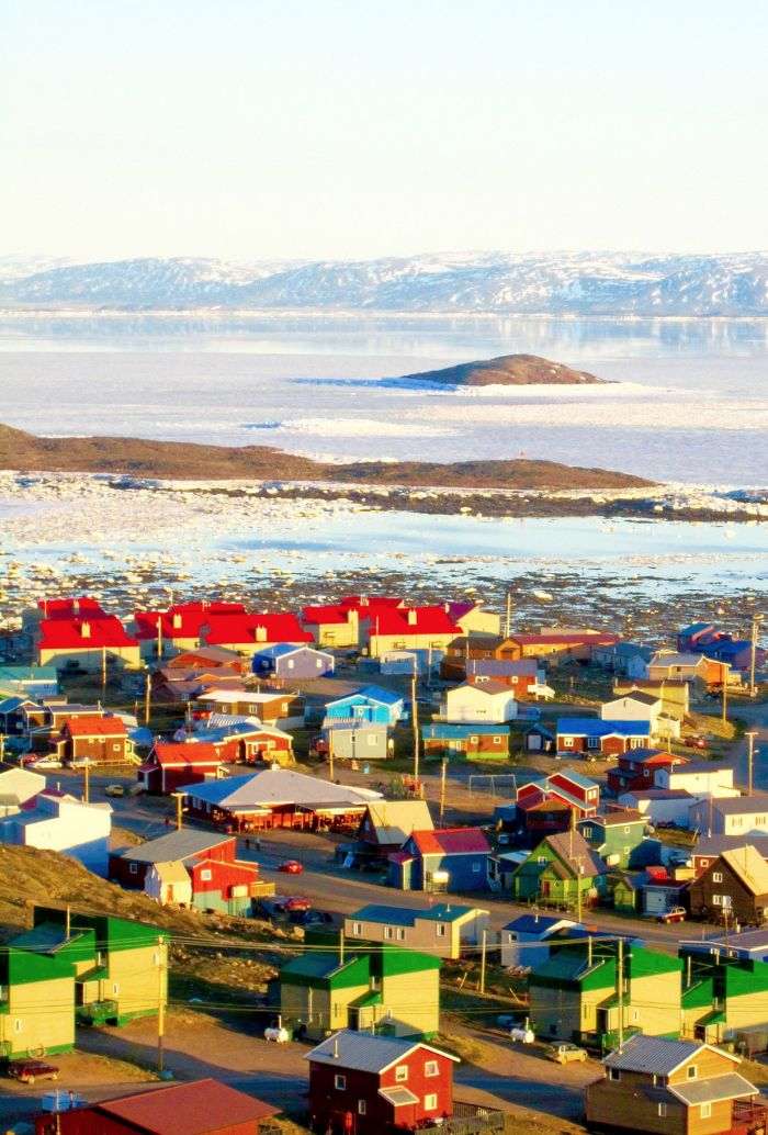 """Iqaluit, Nunavut, Canada "" This town has compensated for the sere background of the Arctic with a riot of colorfully painted houses."