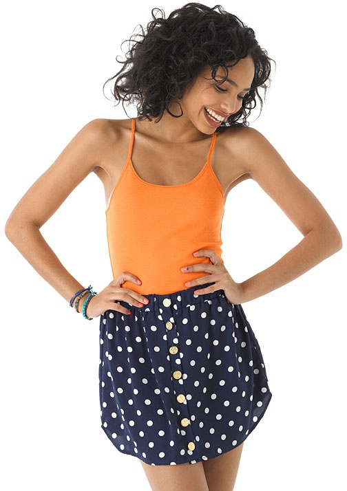 dELiAs > Button Front Polka Dot Skirt > clearance > skirts