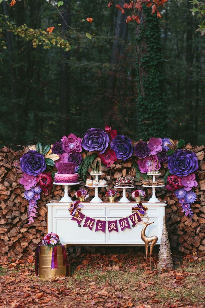 Floral Woodsy Wonderland Party | Dessert Table on Kara's Party Ideas | KarasPartyIdeas.com (57)