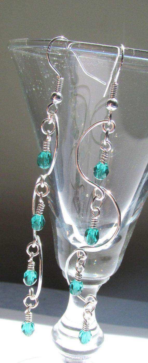 Chandelier Earrings Teal Beaded Earrings by SimplyBeadifulDesign, $15.50
