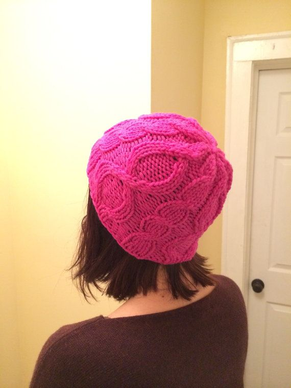 Hot Pink Cabled Hat by KnittedWool on Etsy $38