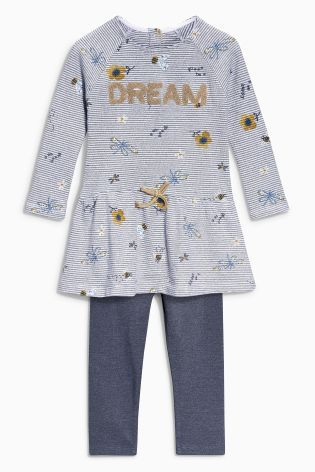 Buy Ecru/Grey Striped Embellished Slogan Tunic And Leggings Set (3mths-6yrs) online today at Next: Netherlands