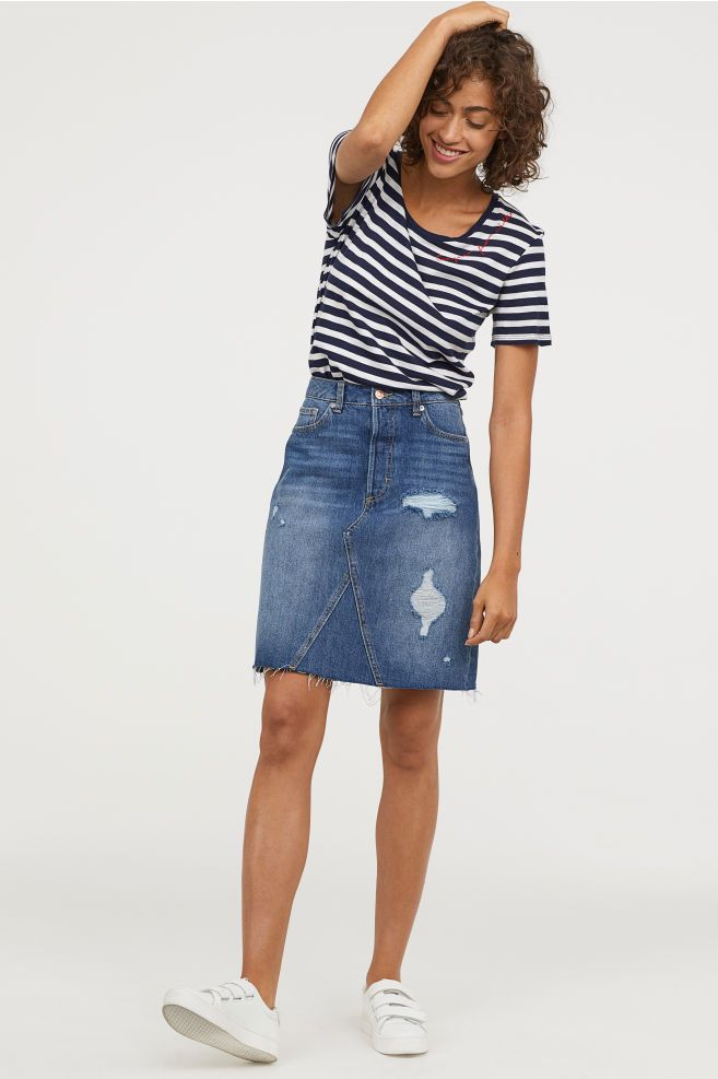 718e27d325 Knee-length Denim Skirt in 2019 | Clothes | Denim skirt, Denim skirt ...