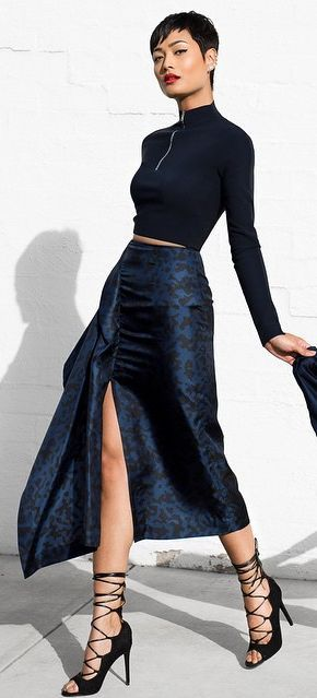 "! ""très C H I C"" ! **Navy Maxi Skirt Styling by Micah Gianneli"