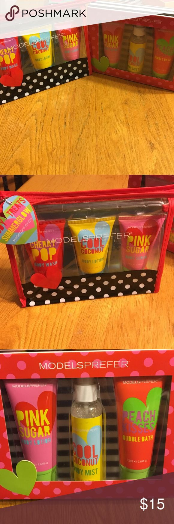 Kids Bath & Body Gift Sets. Includes a free gift! Body Treats Summer Glow Gift Sets. Cherry Pop Body Wash, Cool Coconut Body Lotion, Pink Sugar Body Scrub/Lotion, Body Sparkle Mist, and Bubble Bath. Purchase these two sets and receive a free lip gloss gift set that includes 9 different glosses!!! What a deal ModelSprefer Other