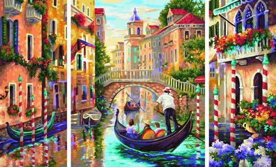 Schipper 609260736 Malen nach Zahlen Venedig Die Stadt in der Lagune Triptychon -
