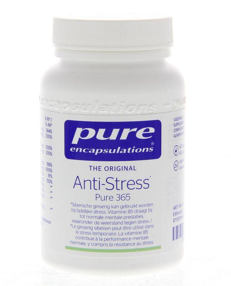 Pure Encapsulations Anti-Stress Capsules Pure 365 60Caps  Description: Pure Encapsulations Anti-Stress.Een gerichte combinatie van micronutriënten voor de instandhouding van de mentale prestaties en de werking van de zenuwen. Als lichaam en geest op volle toeren draaien kunnen vitaminen mineralen of plantenextracten dementale prestaties ondersteunen. Pantotheenzuur (vitamine B5)draagt bij tot een normaal geestelijk prestatievermogen waaronderde weerstand tegen stress. Ook Siberische ginseng…