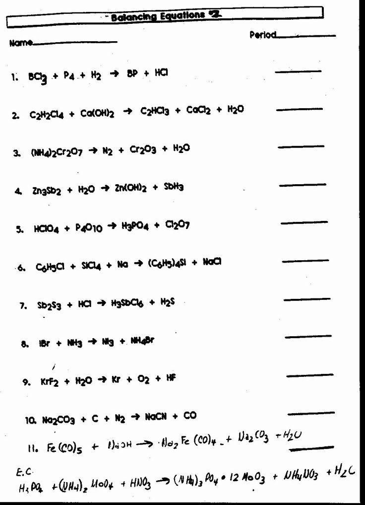 Balancing Equations Worksheet Answers Inspirational ...