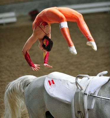equestrian vaulting pro - i miss this so much, weight training is excellent and I'm definitely proud of myself but I miss vaulting and being around horses all the time. wish i could vault again <3