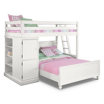Colorworks white ii kids furniture loft bed with full bed value city furniture