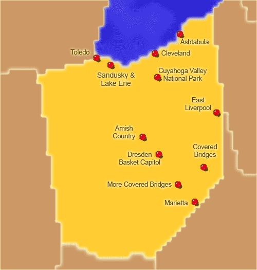 Ohio Attractions Click On The Map Or Select From The List Below - Ohio on us map