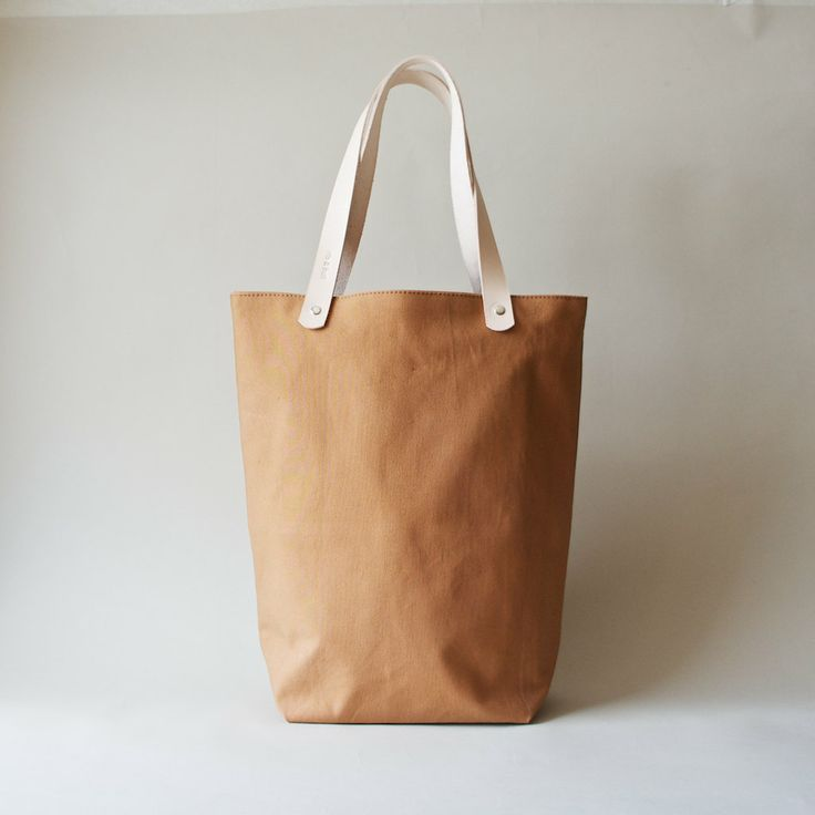 Organic Canvas Tote with Leather Straps - Cinnamon Tokyo Tote. $69.00, via Etsy.