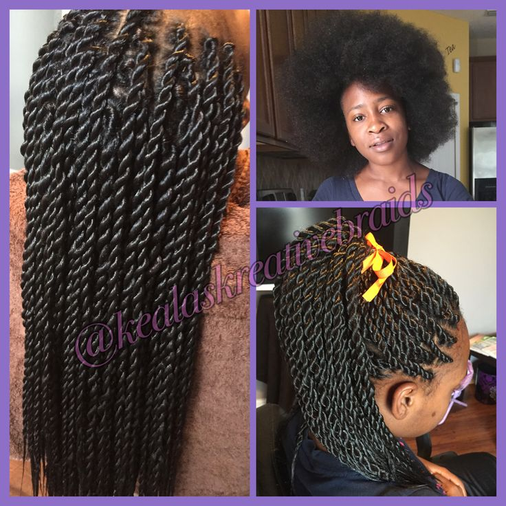 Medium Rope Twist With Kanekolan Hair On Natural Hair Teen