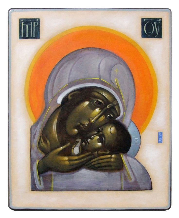 Theotokos contemporary icon by Greta Maria Leśko