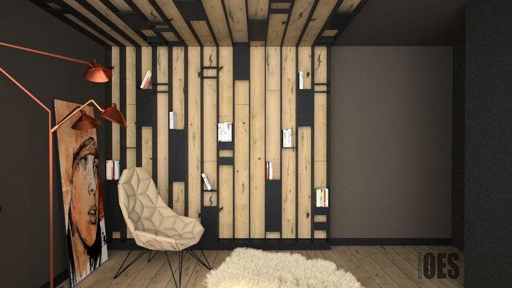 #drewnonaścianie drewno na suficie i ścianie, czarne minimalistyczne półki, miedź w sypialni