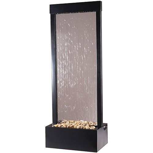 4' Black Onyx Gardenfall Floor Water Fountain has a very sleek look which would look great in your home or office.