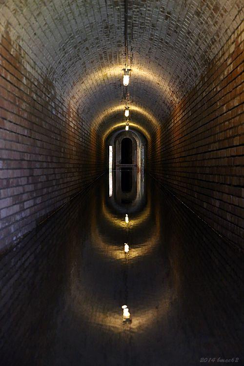 Flooded underground passageway, Fort Gaines, on Dauphin Island, Alabama.