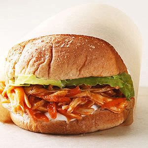 BBQ Chicken Sandwich ~ Toss leftover cooked chicken with barbecue sauce and crunchy carrots for a quick and healthy lunch.