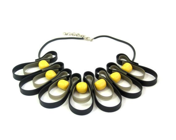 yellow and black necklace,  geometric jewelry, urban street wear, rubber necklace, summer fashion, bib statement necklace