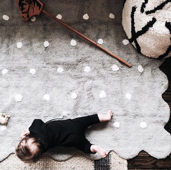 The Lorena Canals Galleta grey children's rug is a safe and practical choice for babies. Not only are they machine washable, they are natural and handmade and free of toxins found in other rugs. lorenacanals.com to shop for a stylish selection of children's rugs. #KidsRugs