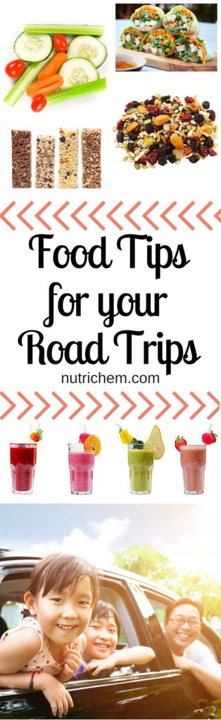 Food Tips for your Road Trips - NutriChem #nutrition - Be prepared for your next road trip with these simple snack ideas that can be enjoyed in the car or at a rest area. Includes recipes! #cartrip #trip #travel #snacks #roadtrip #wanderlust