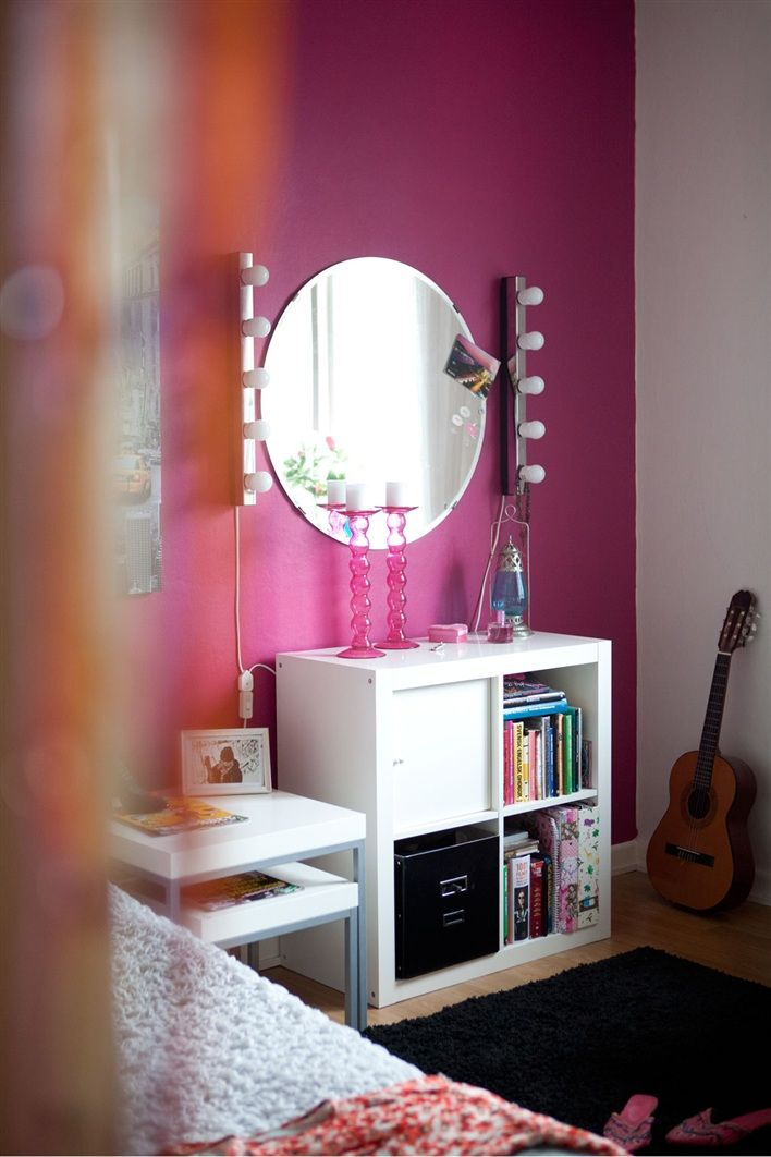 Ikea Expedit 2x2 book case with storage cubes.  Can add feet. Great for bedside table. Nesting tables offer flexible use in small space.