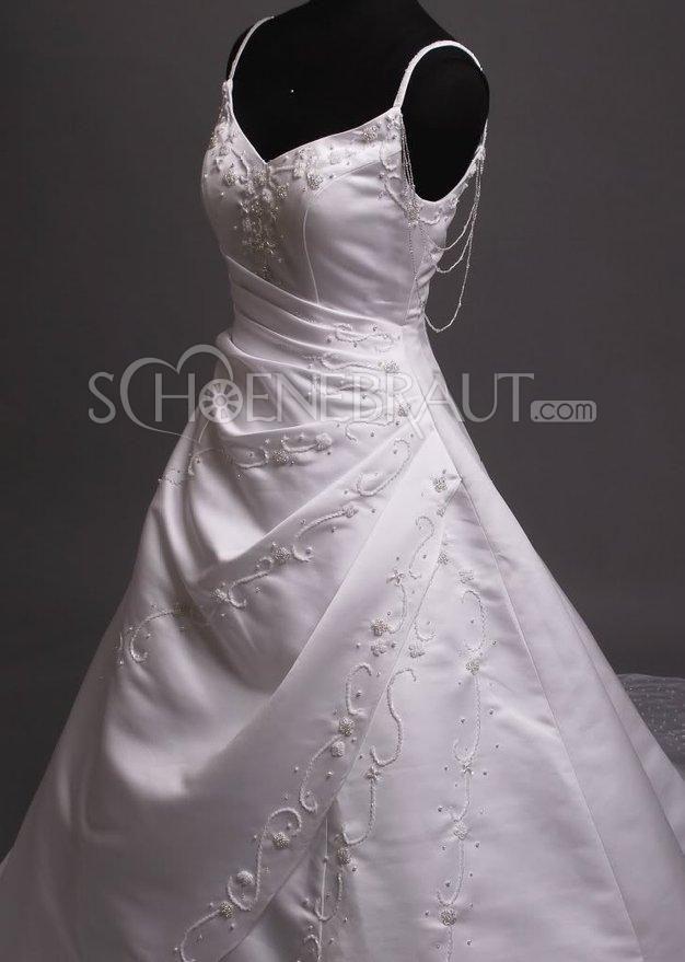 Brautkleid mit Spaghettiträgern bestickte Hochzeitskleider Tüll Ohne Arm [#UD9160] - schoenebraut.com