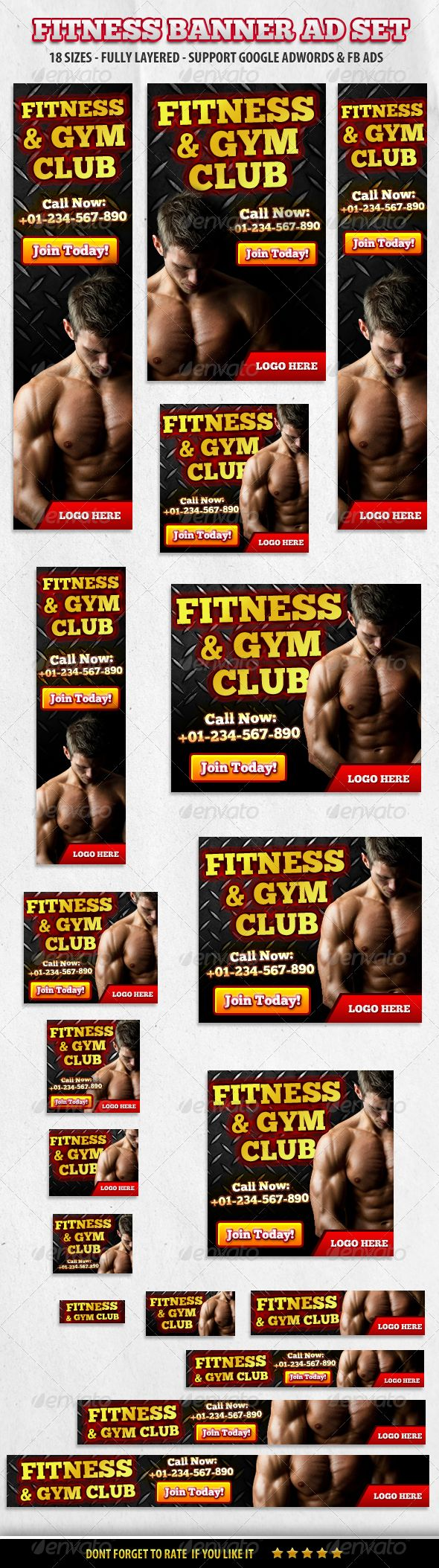 Fitness & Gym Club Banner ad Set Template PSD | Buy and Download: http://graphicriver.net/item/fitness-gym-club-banner-ad-set/5815731?WT.ac=category_thumb&WT.z_author=booharry&ref=ksioks