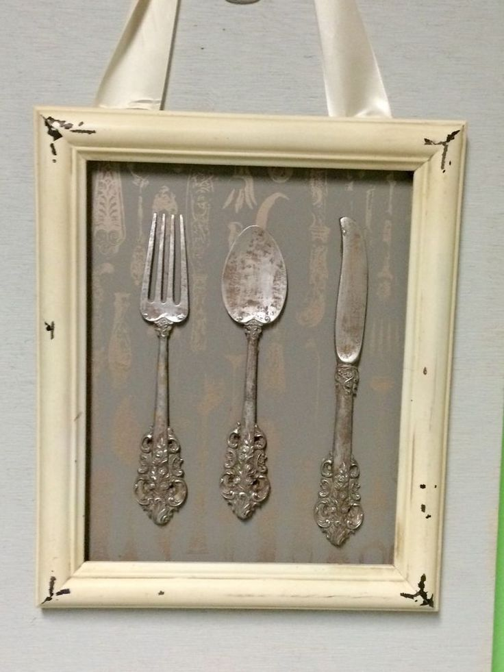 Shabby Chic Knife Fork And Spoon Framed Wall Art